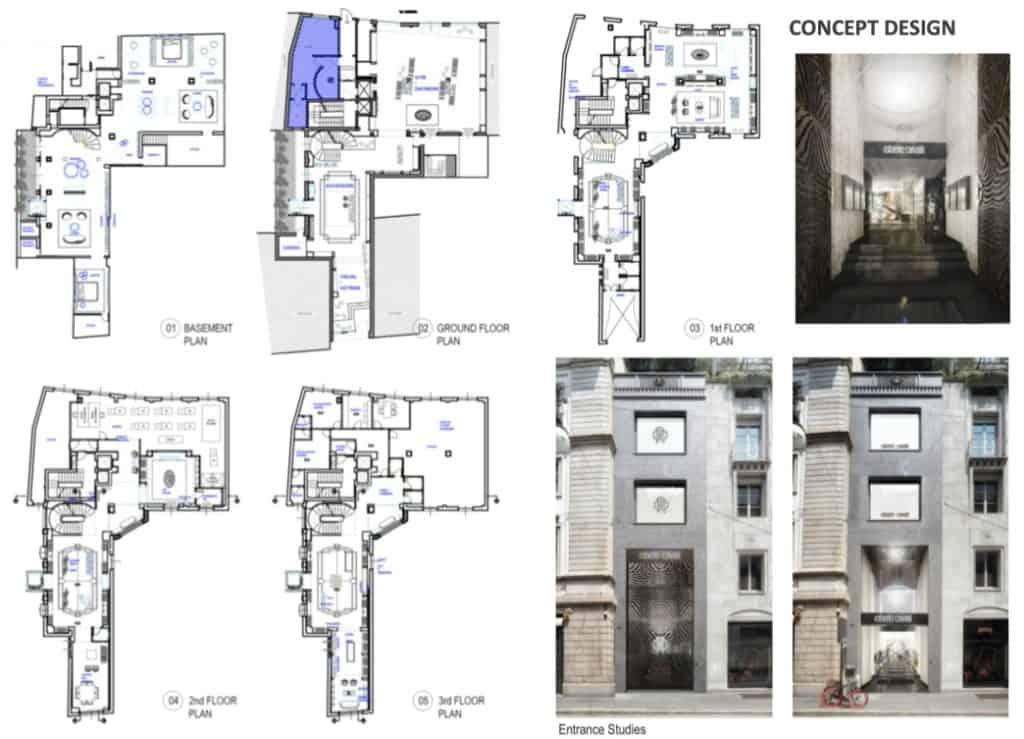 Preliminary stage conceptual design Montenapoleone Roberto Cavalli