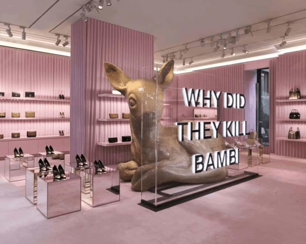 Burberry Milan Montenapoleone entrnace installation pink