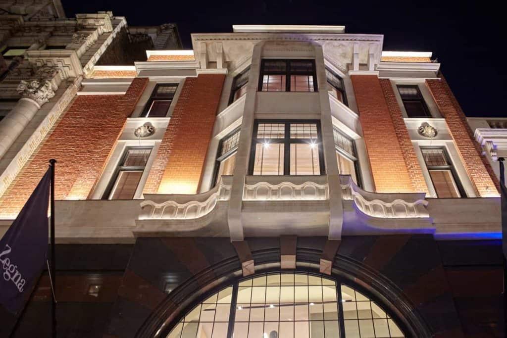Ermenegildo Zegna New Bond Street facade at night