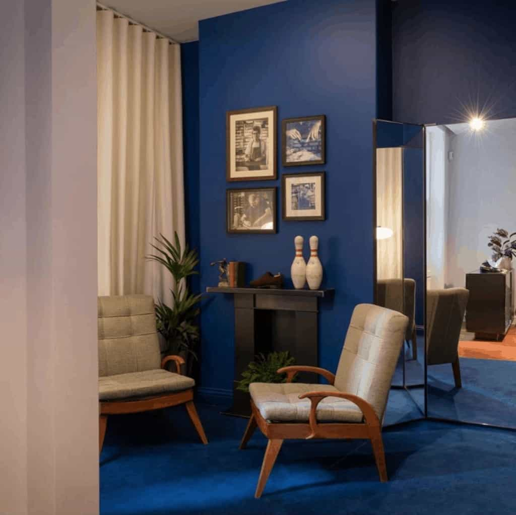 The blue room designed by Flair Studio for the new Velasca flagship store in Chiltern street