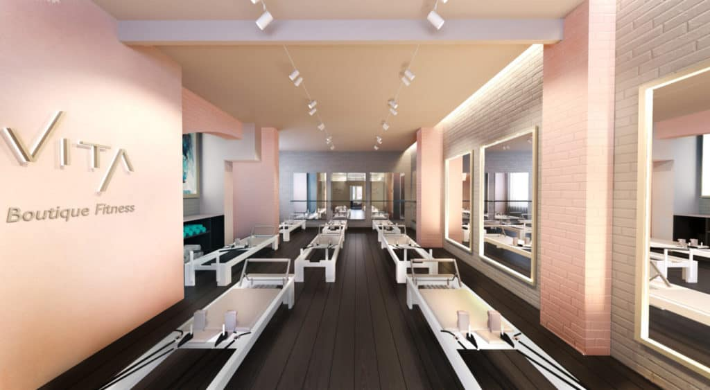 Vita Pilates classroom reformer interior design flair studio