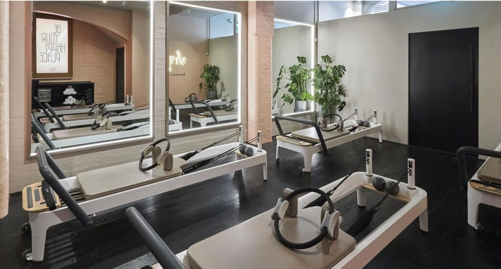 Pilates reformer studio, fitness interior design, wellness interior design