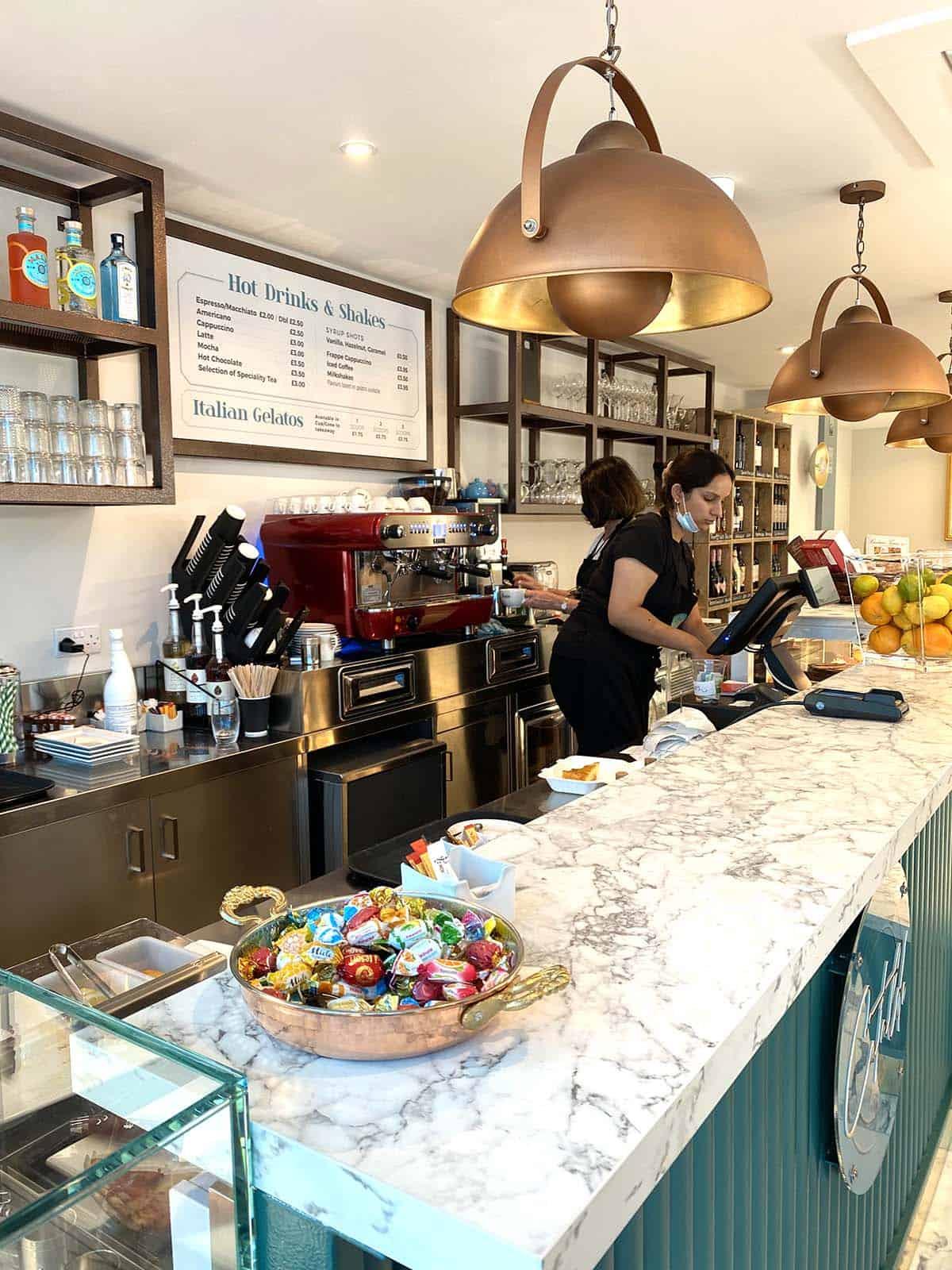 Cataldo's Italian, bar counter, restaurant design, flair studio