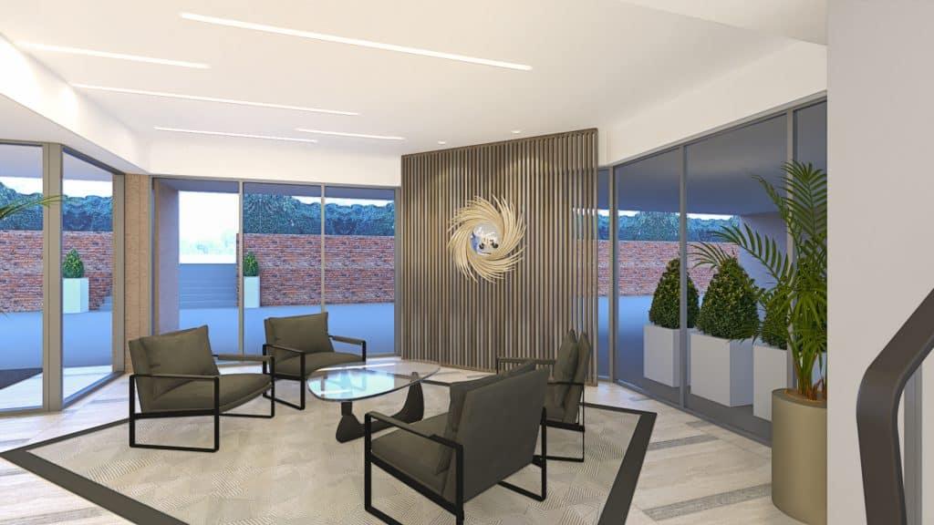Foyer, retrofit, seating area,  decorative panels, marble floor, interior design, flair studio